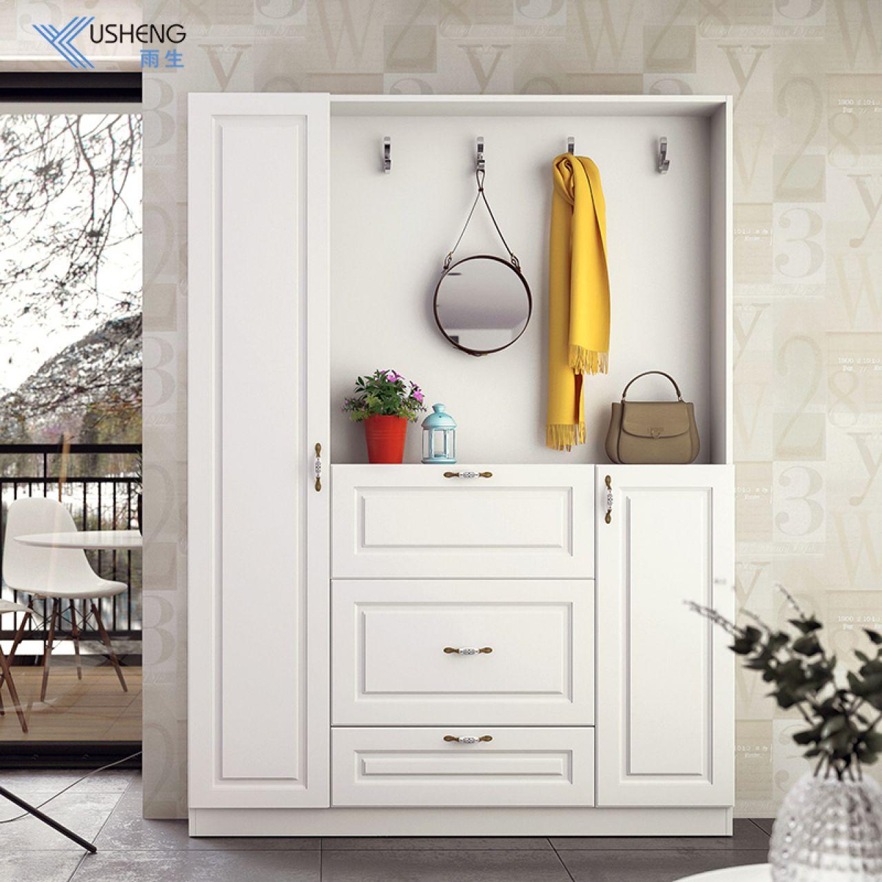 雨生智能整装现代简约 玄关入户柜 吸塑玄关鞋柜-白色