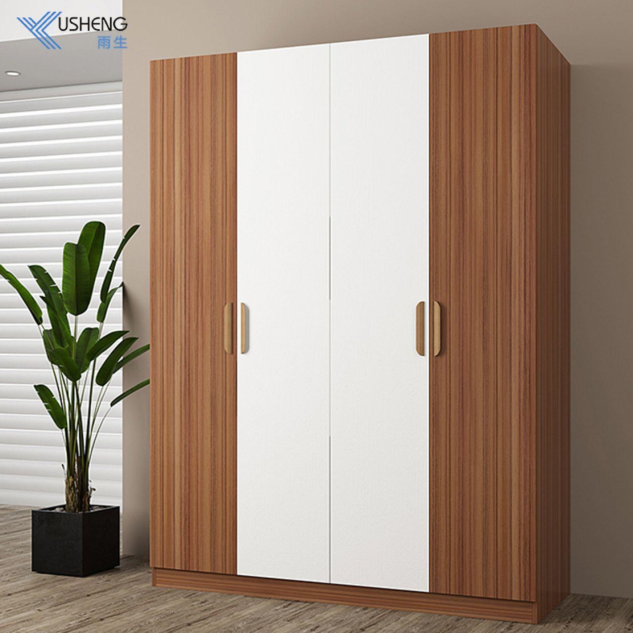 四门衣柜简约现代板式衣柜组装木质4门大衣柜经济型衣橱雨生家具 如图颜色 4门