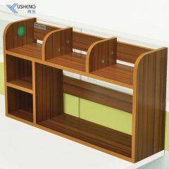 雨生桌上书架简易置物架桌面小书架隔断办公室收纳架办公桌小书柜 柚木色